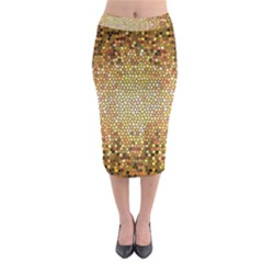 Yellow And Black Stained Glass Effect Midi Pencil Skirt