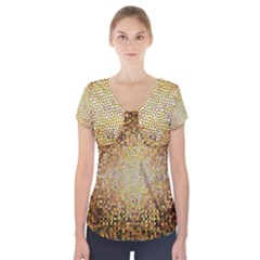 Yellow And Black Stained Glass Effect Short Sleeve Front Detail Top
