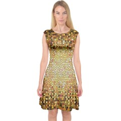 Yellow And Black Stained Glass Effect Capsleeve Midi Dress
