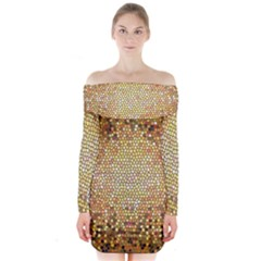 Yellow And Black Stained Glass Effect Long Sleeve Off Shoulder Dress