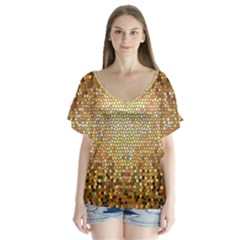 Yellow And Black Stained Glass Effect Flutter Sleeve Top
