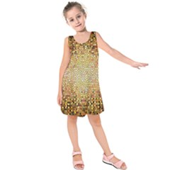 Yellow And Black Stained Glass Effect Kids  Sleeveless Dress