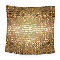 Yellow And Black Stained Glass Effect Square Tapestry (large)