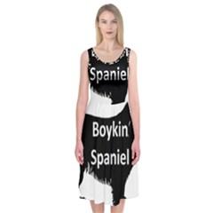 Boykin Spaniel Name Silo Black Midi Sleeveless Dress