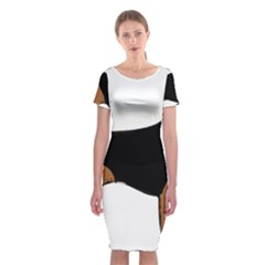Beagle Silhouette Black Red White Classic Short Sleeve Midi Dress