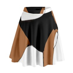 Beagle Silhouette Black Red White High Waist Skirt