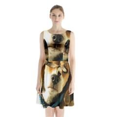 Beagle Sleeveless Chiffon Waist Tie Dress