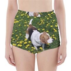 Beagle In Dandilions High-Waisted Bikini Bottoms