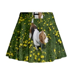 Beagle In Dandilions Mini Flare Skirt