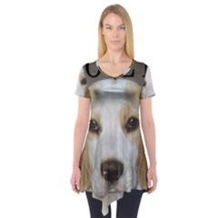 Beagle  Tan And White Love Pic Short Sleeve Tunic