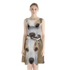 Beagle  Tan And White Love Pic Sleeveless Chiffon Waist Tie Dress