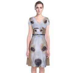 Beagle  Tan And White Love Pic Short Sleeve Front Wrap Dress