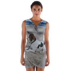 Beagle On Beach Wrap Front Bodycon Dress