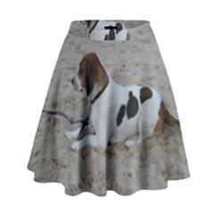 Beagle On Beach High Waist Skirt