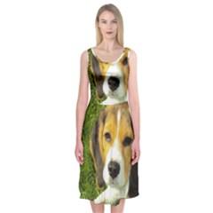 Beagle Puppy Midi Sleeveless Dress