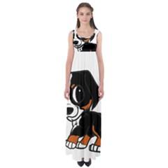 Bernese Mountain Dog Cartoon Rust Empire Waist Maxi Dress
