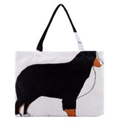 Bernese Mountain Dog Silhouette Rust Medium Zipper Tote Bag