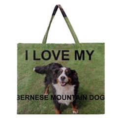 Bernese Mountain Dog Love W Pic Zipper Large Tote Bag