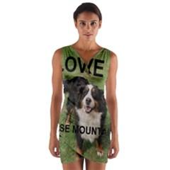 Bernese Mountain Dog Love W Pic Wrap Front Bodycon Dress