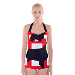 Bernese Mt Dog Silhouette Switzerland Flag Boyleg Halter Swimsuit