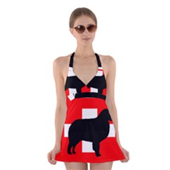Bernese Mt Dog Silhouette Switzerland Flag Halter Swimsuit Dress
