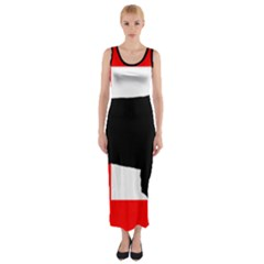 Bernese Mt Dog Silhouette Switzerland Flag Fitted Maxi Dress