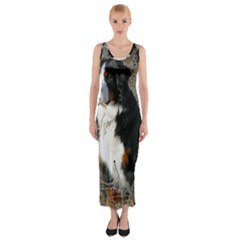 Bernese Mountain Dog Sitting Fitted Maxi Dress