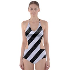 STR3 BK-WH MARBLE Cut-Out One Piece Swimsuit