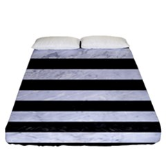 Stripes2 Black Marble & White Marble Fitted Sheet (california King Size)