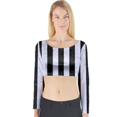 Stripes1 Black Marble & White Marble Long Sleeve Crop Top (tight Fit)