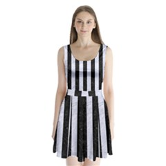 STR1 BK-WH MARBLE Split Back Mini Dress