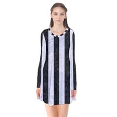 Stripes1 Black Marble & White Marble Long Sleeve V Neck Flare Dress