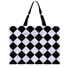 SQR2 BK-WH MARBLE Large Tote Bag