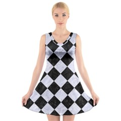 SQR2 BK-WH MARBLE V-Neck Sleeveless Skater Dress