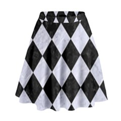 SQR2 BK-WH MARBLE High Waist Skirt