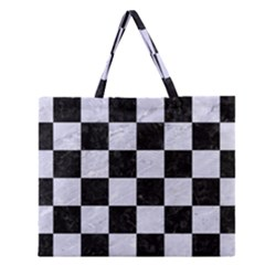 SQR1 BK-WH MARBLE Zipper Large Tote Bag