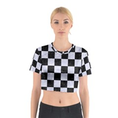 SQR1 BK-WH MARBLE Cotton Crop Top