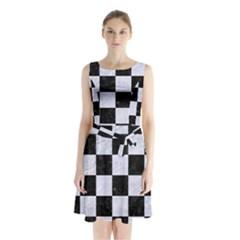 SQR1 BK-WH MARBLE Sleeveless Chiffon Waist Tie Dress