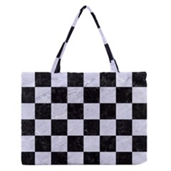 SQR1 BK-WH MARBLE Medium Zipper Tote Bag