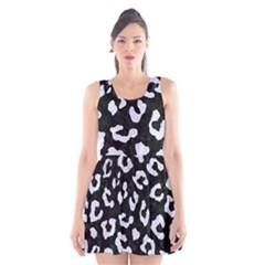 Skin5 Black Marble & White Marble (r) Scoop Neck Skater Dress