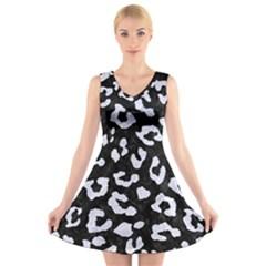 SKN5 BK-WH MARBLE (R) V-Neck Sleeveless Skater Dress