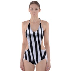 SKN4 BK-WH MARBLE (R) Cut-Out One Piece Swimsuit