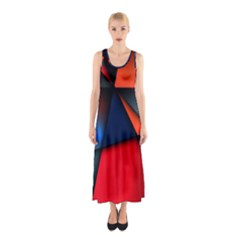 3d And Abstract Sleeveless Maxi Dress