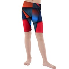 3d And Abstract Kids  Mid Length Swim Shorts