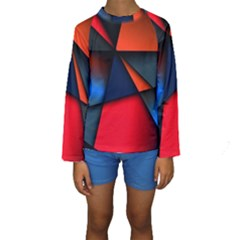 3d And Abstract Kids  Long Sleeve Swimwear