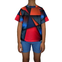 3d And Abstract Kids  Short Sleeve Swimwear