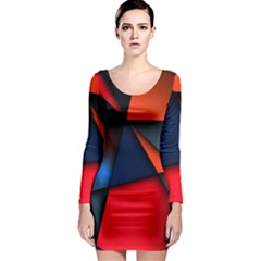 3d And Abstract Long Sleeve Bodycon Dress