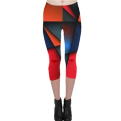 3d And Abstract Capri Leggings