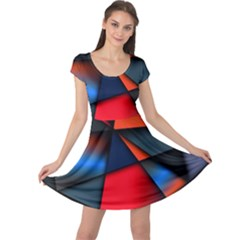 3d And Abstract Cap Sleeve Dresses