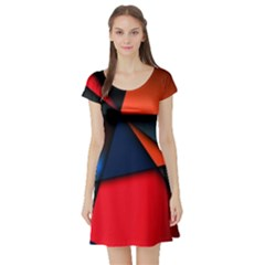 3d And Abstract Short Sleeve Skater Dress
